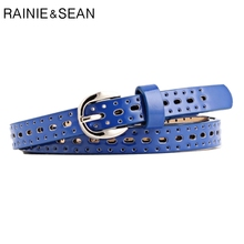 RAINIE SEAN Women Belt Hollow Out Pu Leather Royalblue Korean Casual Ladies 2019 Solid Thin For Jeans