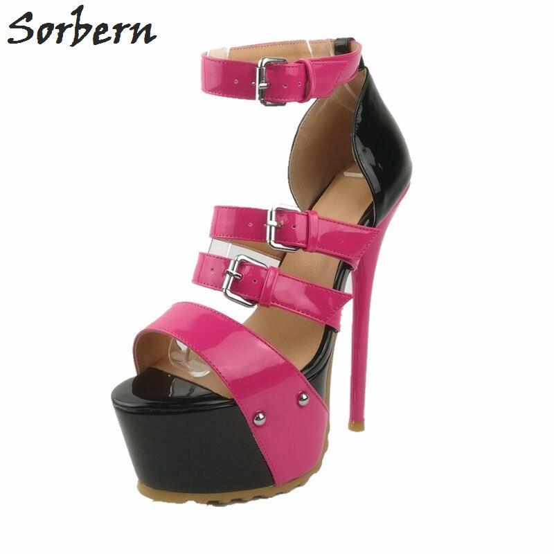 Sorbern Black And Pink Women Sandals High Heels Summer Shoes Platform Sandals Runway Shoes Size 44 Gladiator Style Sandals
