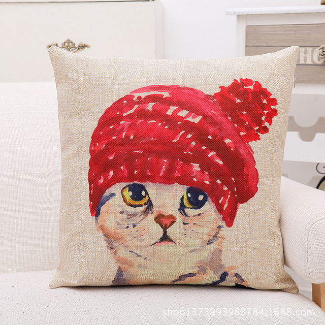 Cute Lovely Cat Decorative Cushion Cover Cotton Linen Square Throw Pillow Cover 45x45CM Pillow Case Home Office Car Sofa Decor