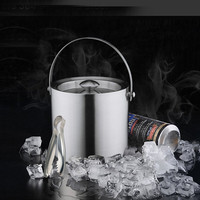 Lecook Ice Bucket & Tongs Double Wall Stainless Steel Ice Buckets Barware Wine Bottle Holder Chiller Easy Carry Bucket