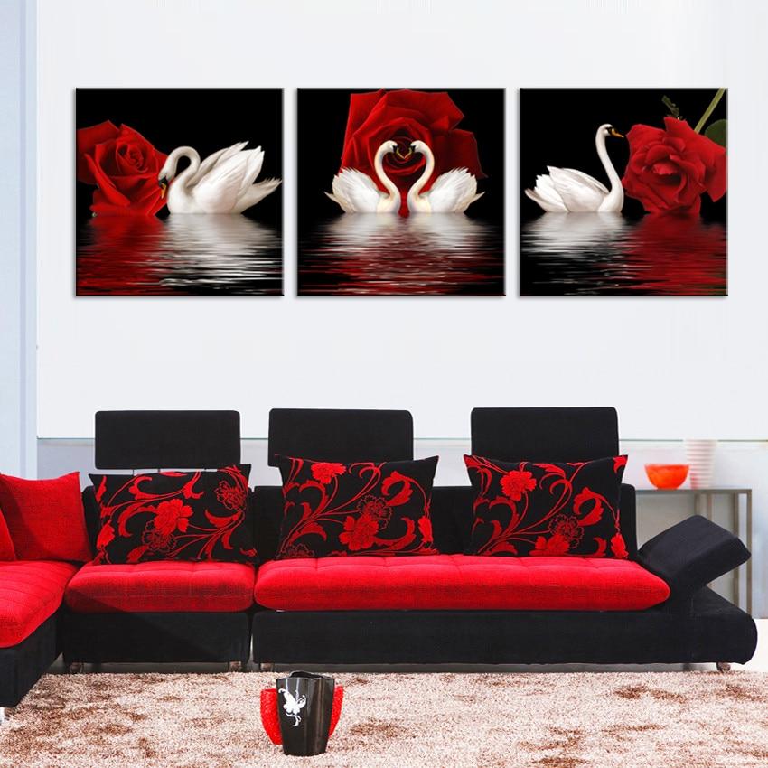 JHLJIAJUN 3 PCS Rose Swan Gambar Kanvas Lukisan Minyak Poster Ruang - Dekorasi rumah - Foto 4