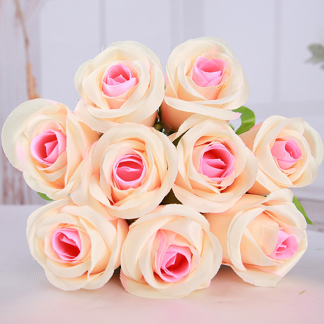 Champagne artificial flowers rose decor latex rose real touch silk champagne artificial flowers rose decor latex rose real touch silk flowers floral wedding bouquet home party mightylinksfo