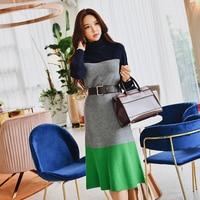 Dabuwawa Winter Colorblock Women Dress Turtleneck 2018 New Fashion Elegant A Line Ruffles Long Knit Midi Dress