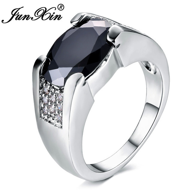 JUNXIN Oval Black Stone Female Male Ring With Zircon Silver Color White Gold Big Rings For Men Women Crystal Wedding Couple Ring