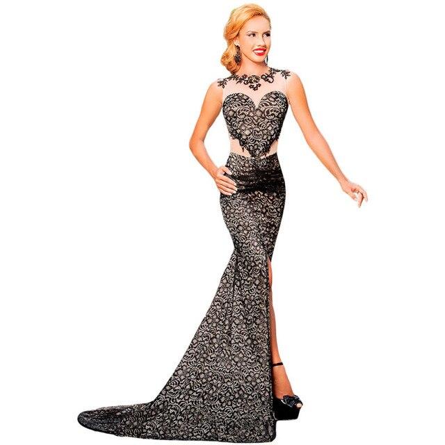 c9d7288f52b Aleumdr Women Sexy Black Lace Glamour Split Maxi Dress Long Elegant  Floor-Length Dresses For Evenings Party Vestidos De Festa