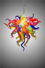 Modern Multi Color Mouth Blown Murano Glass Long Chain LED AC Italy Chihuly Chandelier