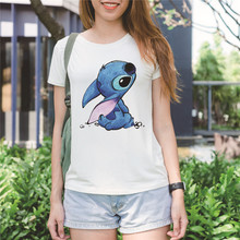 Showtly  Cartoon Cute Womens Tee Tops Vacation essential Casual Cotton O Neck Short Sleeve