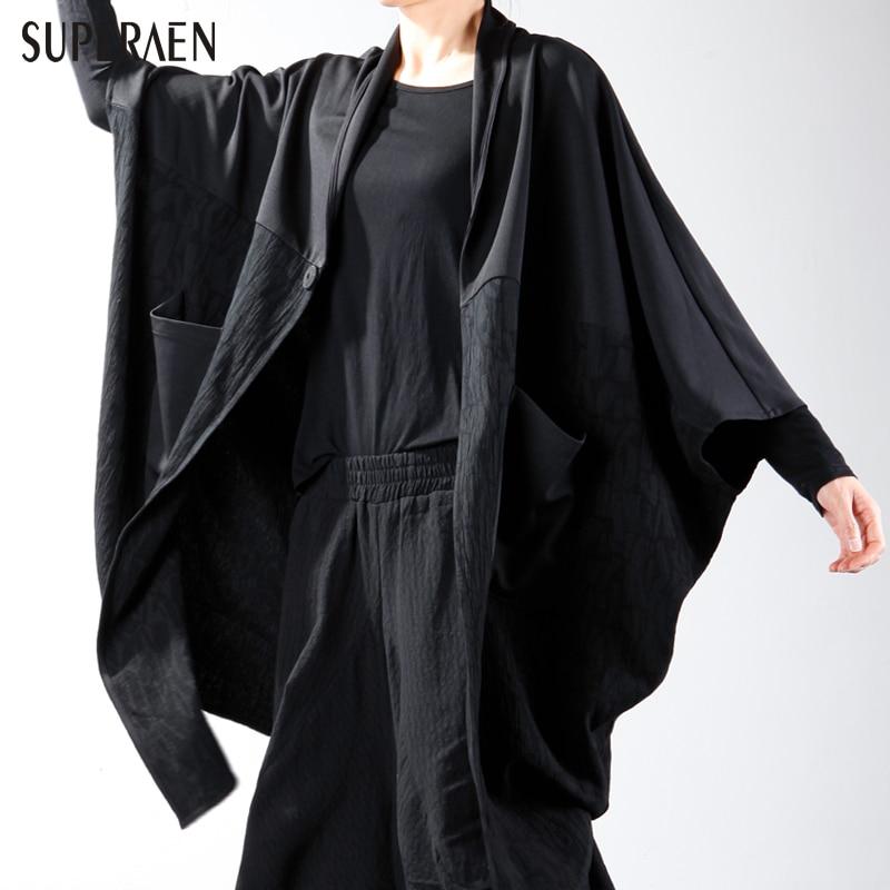 SuperAen 2018 Spring New Shawl Female Coat Fashion Casual Cotton Wild Women Jacket Loose Europe Pocket Coat for Women Tops