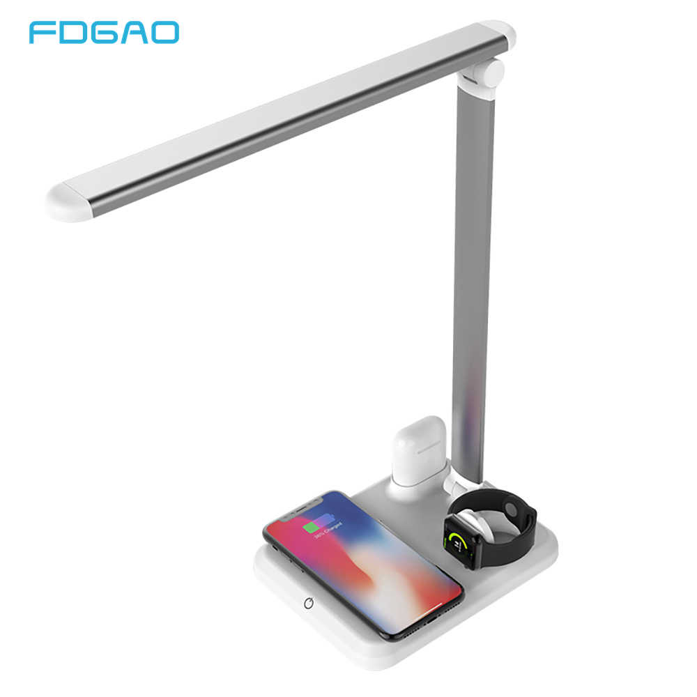 FDGAO Table Desk LED Lamp Light Qi Wireless Charger for iPhone 8 X XS XR Apple Watch 4 3 2 Airpods USB Fast Charging Desktop Pad