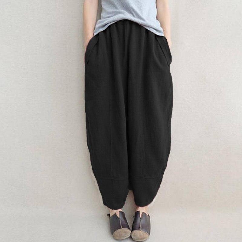ZANZEA Women Casual Wide Legs Loose Harem Pants Solid Baggy Cotton Long Trousers