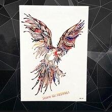 Colorful Body Art Flash Temporary Tattoo Sticker Brave Flying Eagle Parrot Hawk Design Waterproof Arm Tattoo Sleeve AHB-401