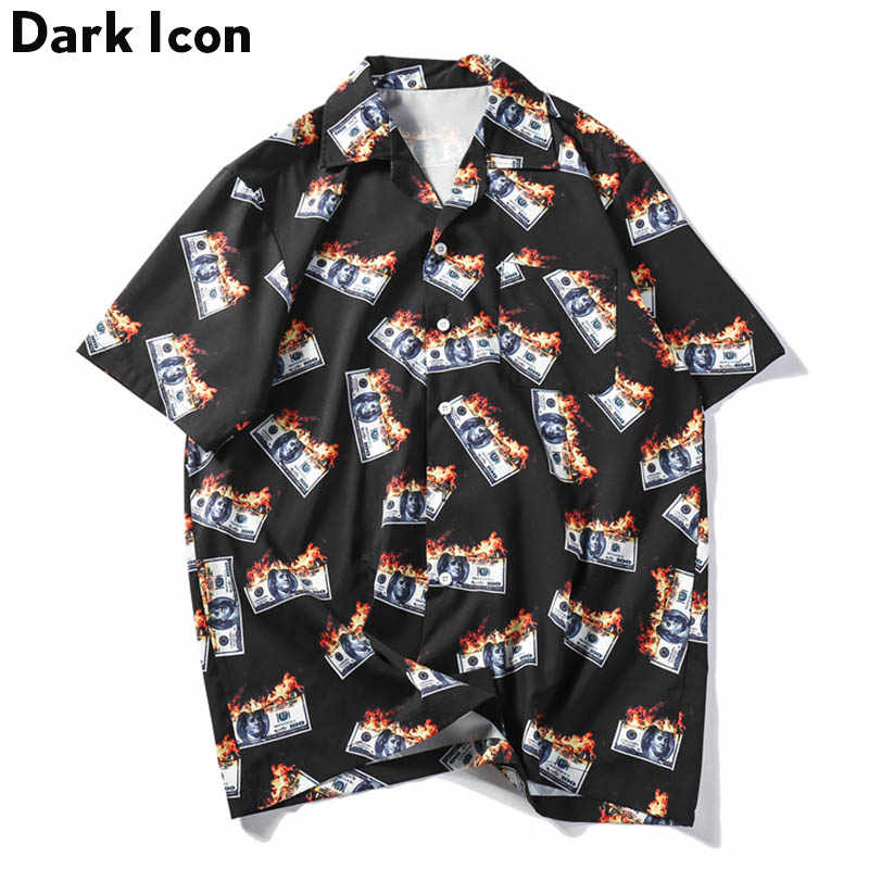 Dark Icon Flame USDollar Shirts Men 2019 Summer Turn-down Collar Men's Shirts Streetwear Hip Hop Shirts