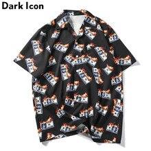 夏ターンダウン襟男性のシャツストリートヒップホップシャツ ダークアイコン炎ドルユ-シャツ男性 2019