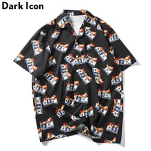 Dark Icon Flame USDollar Shirts Men 2019 Summer Turn-down Collar Mens Streetwear Hip Hop