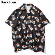 Dark Icon Flame USDollar Shirts Men 2019 Summer Turn-down Collar Men's Shirts Streetwear Hip Hop Shirts(China)