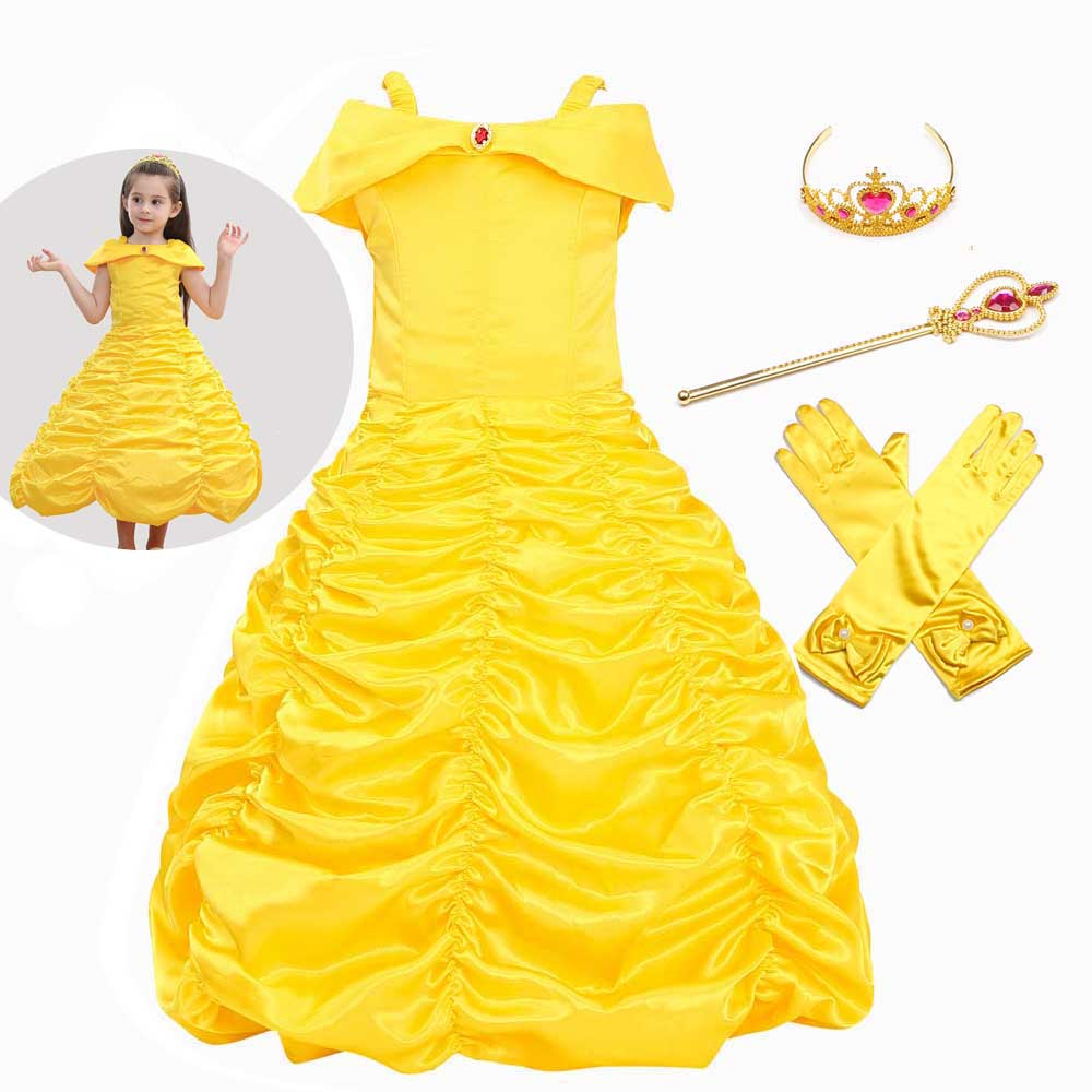 Belle Princess Dress For Girls Shoulder Layered Skirt Costume The Beast Kids Party Children Fancy Dress Costume