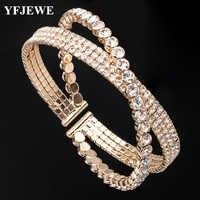 YFJEWE femmes classique croix Design cristal Bracelet mode bijoux étincelant fait main Femme Bracelets B254