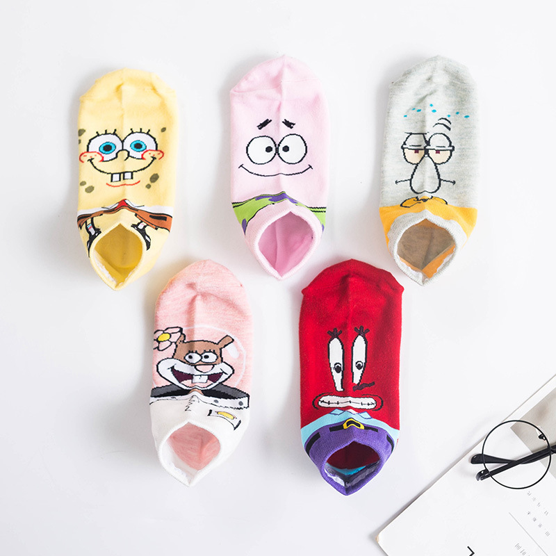 SP&CITY Cartoon Short Socks Women Colored Cute Cotton Ankle Socks Character Animal Girls Funny Socks Low Breathable Sox Female
