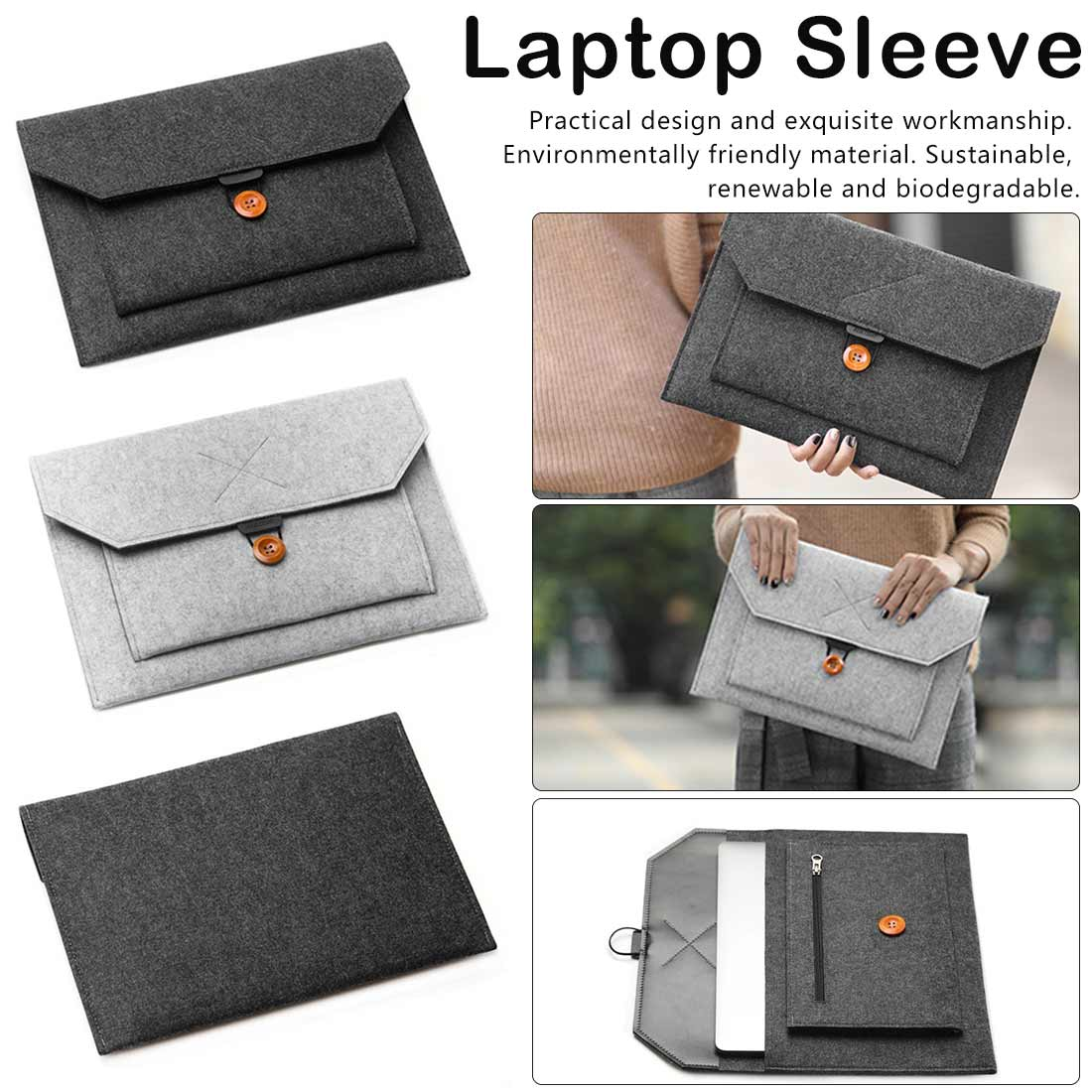 Wool Felt Laptop Sleeve Bag Notebook Handbag Case For Macbook Air Pro 12 13.3 14 For Lenovo Asus HP Laptop Liner Bag