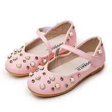 Children shoes girls princess 2017 autumn new fashion pink white pearl stones girls party shoes princess kids moccasin shoes