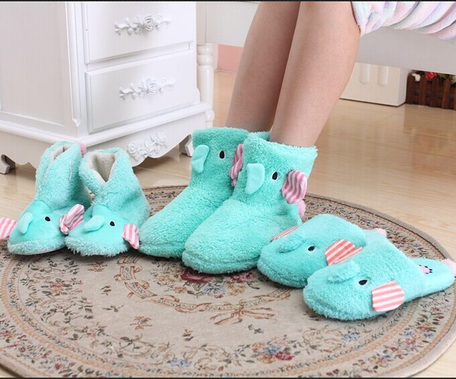 Funny Adult Elephant Slippers Women Home Bots Female Indoor Shoes