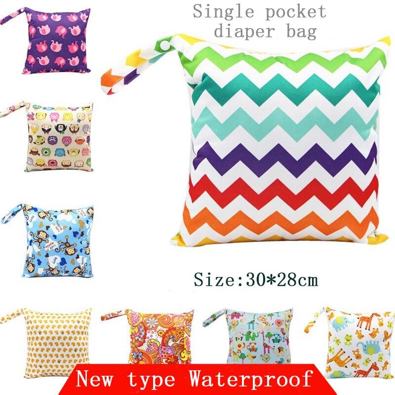 Reusable Waterproof Diaper Bag Water Resistant Printed Diaper Single Pocket,Cloth Handle,Wet Bags Nappy Bags Zippered 28*30cm