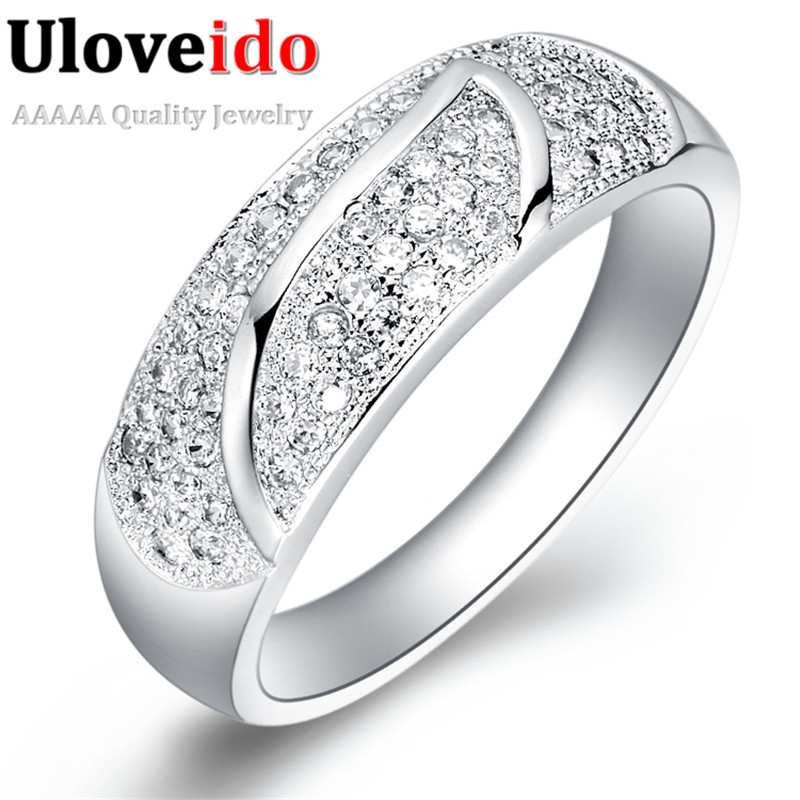gift for girlfriend zirconium discounted silver plated wedding rings for women vintage cz diamond jewelry uloveido - Discounted Wedding Rings