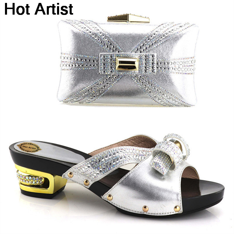 Hot Artist Fashion Elegant Woman Shoes And Bag Set High Quality Rhinestone Pumps Slipper Shoes And Bags Set For Party YH-03 hot artist african style slipper shoes and matching bag set fashion rhinestone ladies pumps shoes and bag set for party me7708