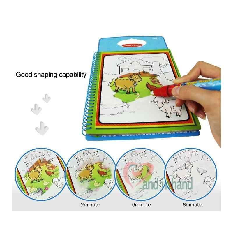 Buku Mewarnai untuk Anak-anak Mainan Air Sihir Menggambar Hewan Lukisan Papan Awal Belajar Mainan untuk Anak-anak Berwarna-warni Bayi