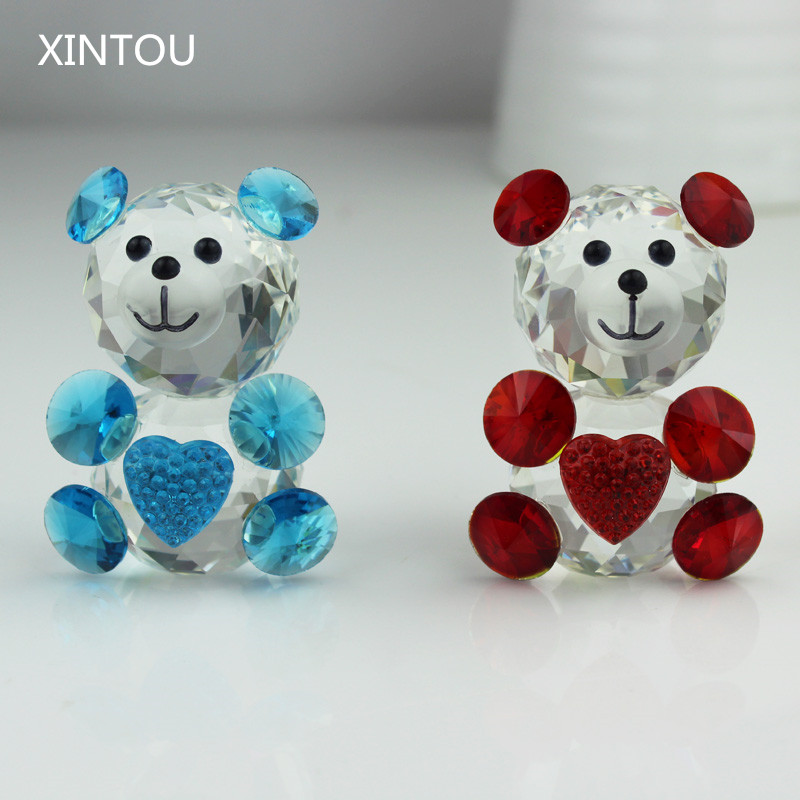 XINTOU Crystal Glass Animals Teddy Bear Figurine Miniature Desk Ornaments Christmas Terrarium Figurines Teraryum Decor Crafts