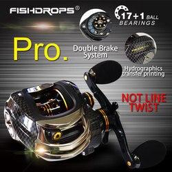 Double Brake Baitcasting Reel 17BB+1RB Fishing Gear Water Drop Wheel 7.0:1 Ratio Bait Casting Fishing Reel Lure Reel