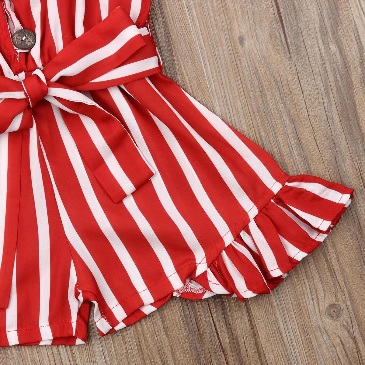 Niño lindo chico bebé niña mameluco ropa a rayas sin mangas rayas Rojo correa de pantalones de gasa de verano traje 3-8Y