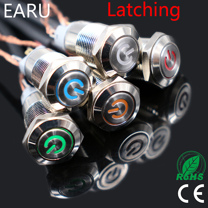1pc Car Computer 12mm Latching Angel Eye Aluminum Metal LED Power NO Push Button Switch Self-locking Metal Switch Normally Open