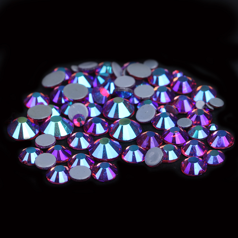 Flatback Strass Round Glass Hotfix Crystal Rhinestones 3D Nails Art Backpack DIY Decorations Accessoires Fushia AB Color ss3 ss30 jet black ab nail art rhinestones with round flatback for nails art cell phone and wedding decorations