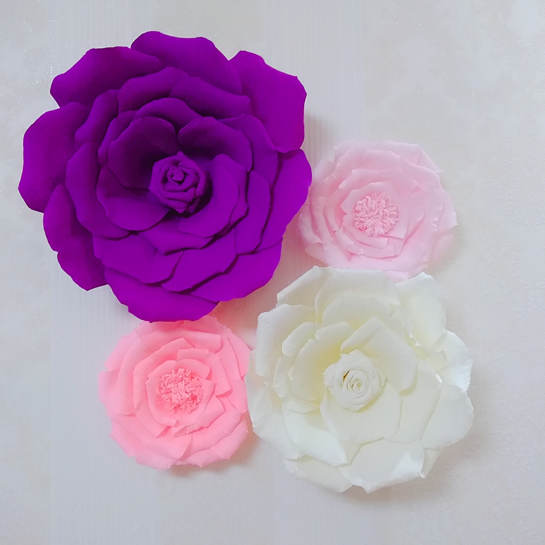 4 piece assorted crepe paper flower set gallery wall decor for Crepe paper wall flowers