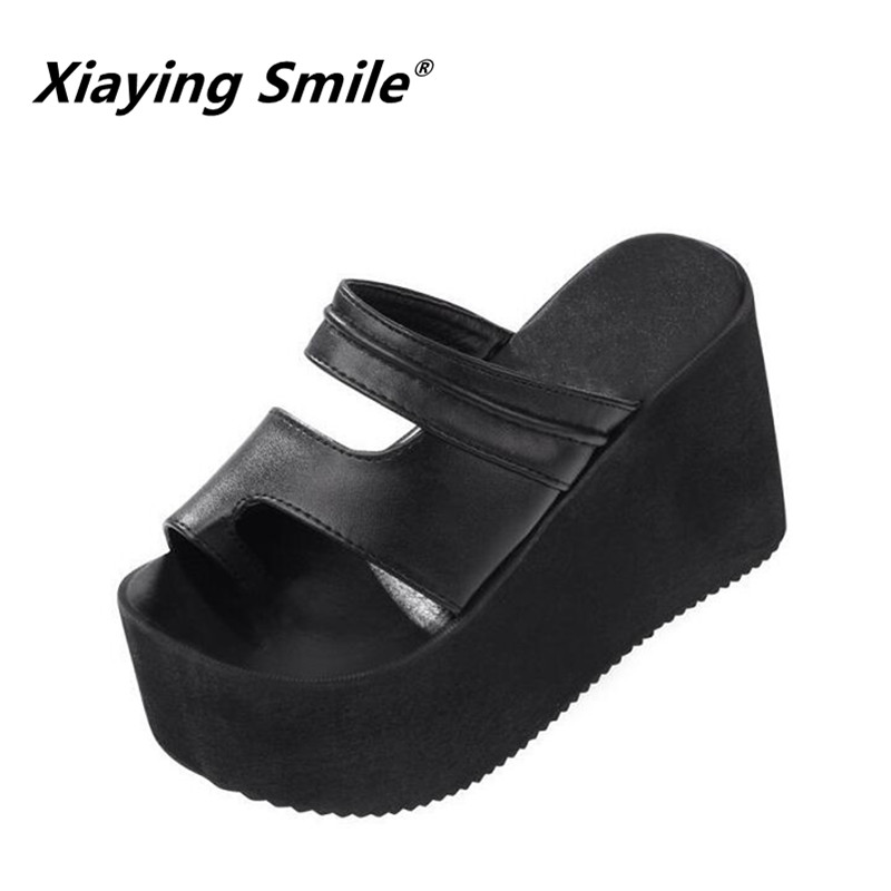 Xiaying Smile Summer Woman Slippers Sandals Wedge Heel Platform Super High Fashion Air Thick Comfortable Women Shoes Size 35-39 xiaying smile summer woman sandals square cover heel woman pumps buckle strap fashion casual flower flock student women shoes