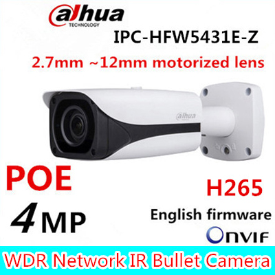 Free Shipping DAHUA CCTV IP Camera 4MP WDR IR Bullet Network Camera IP67 with POE without Logo IPC-HFW5431E-Z free shipping dahua security cctv ip camera 5mp wdr ir mini bullet camera with poe ip67 no logo ipc hfw1531s