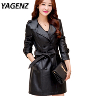 2017 Women Winter PU Leather Jacket Slim Plus Velvet Thick Warm Leather Coat Waterproof Windproof Solid