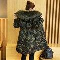 Nueva ArmyGreen Escudo Invierno de Las Mujeres Wadded Chaqueta Medio-Largo Más Tamaño 2XL Engrosamiento Cuello de Piel Capucha Abrigos Mujer de Nieve desgaste Caliente