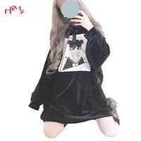 Japanese Harajuku Black Hoodies Women Korean Kawaii Anime Graphic Red Long Sweatshirts Lolita Gothic Oversized Velvet Pullovers