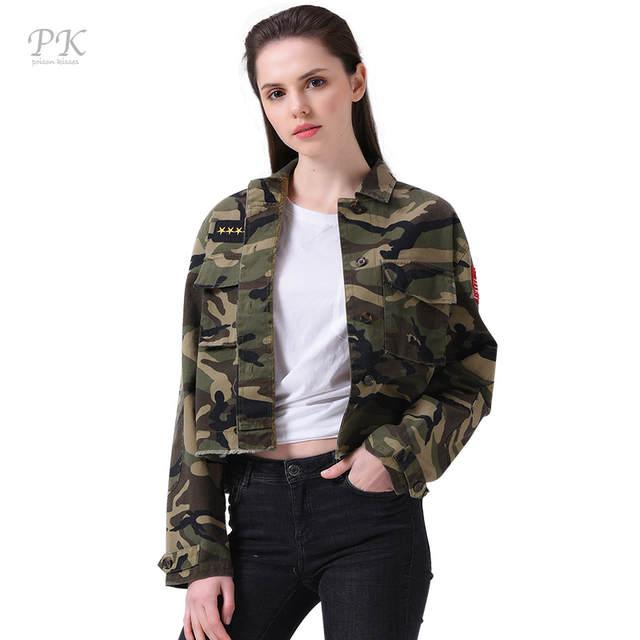 PK Militaire Veste Femmes Mode 2017 Armée Vert Denim Bomber Vestes Femmes  Coupe-Vent Veste 98cabb428b21