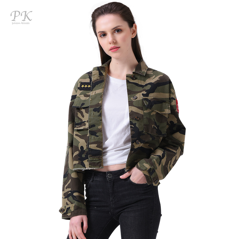 buy pk military jacket women fashion 2017 army green denim bomber jackets women. Black Bedroom Furniture Sets. Home Design Ideas