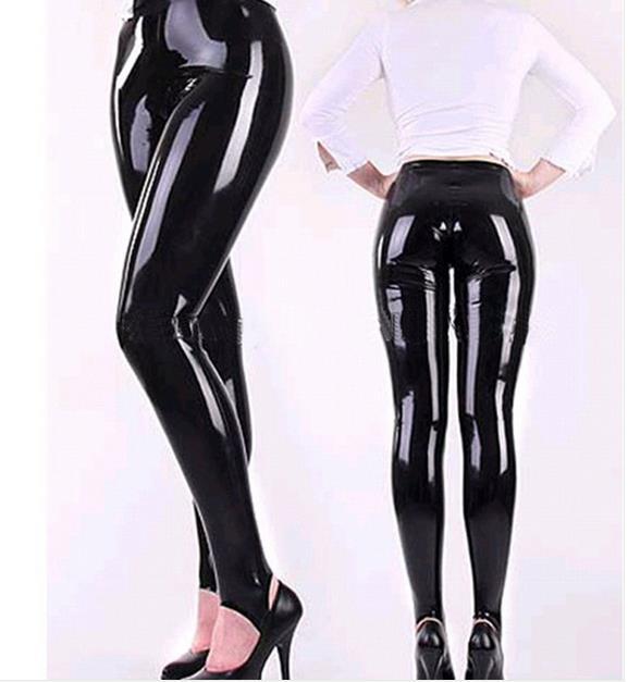 Femme noir taille haute Latex pantalon exotique Leggings Skinny caoutchouc pantalon grande taille