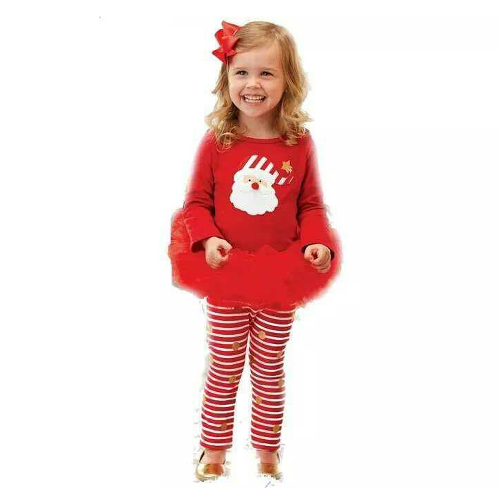New Winter Kids Girls Christmas Clothes Set Santa Claus Print Tops +Pant skirt Leggings 2pcs Clothes Outfit Set 0-4Y my 1st christmas santa claus white top minnie dot petal skirt girls outfit nb 8y