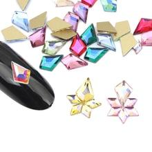 Новинка 5,5x8 мм Красочные Стразы для ногтей AB блестящие ногти кристаллы золото с плоским основанием, для ногтей украшения для ногтей аксессуары для ногтей