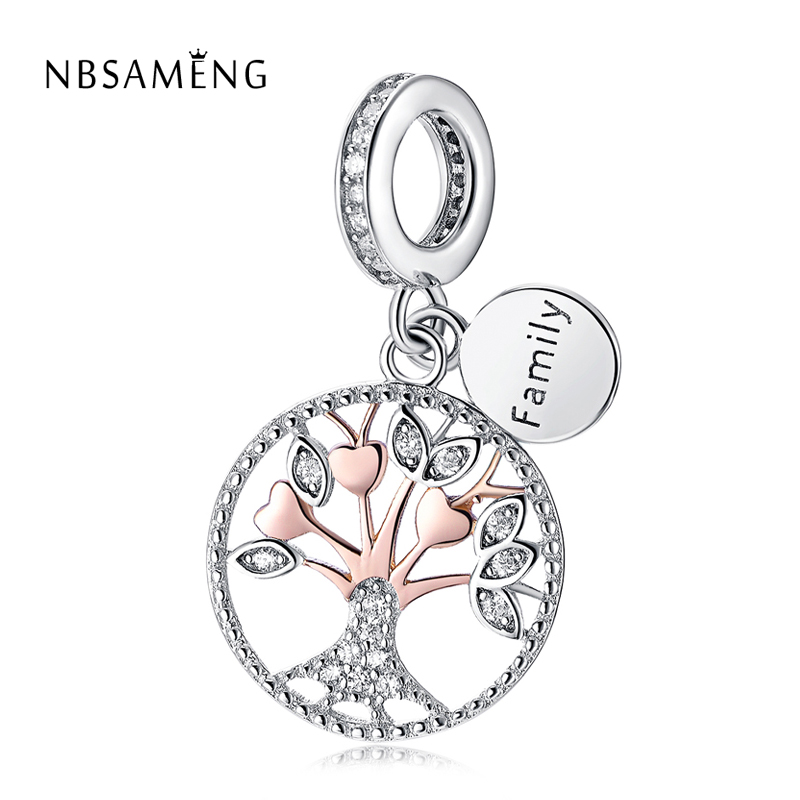 New Authentic 925 Sterling Silver Bead Rose Gold Family Tree Of Life Pendant Charm Fit Original Pandora Bracelet Diy Charms