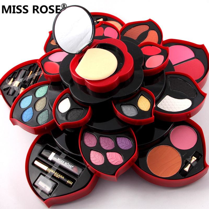 Brand MISS ROSE Rotatable plum blossom shaped makeup set of 23 colors eye shadow Lip Gloss Blush powder lipstick pencil mascara miss rose plate of the piano box eye shadow makeup of dumb light of pearl tray blush powdery cake grooming powder cosmetics box