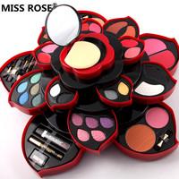 MISS ROSE eyeshadow   makeup     set   23 colors eye shadow Lip Gloss Blush powder lipstick pencil mascara Rotatable plum blossom shaped