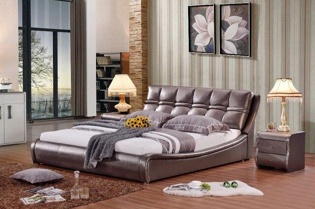 US $799.0 |Moderno reale genuino letto in pelle/morbido letto/letto  matrimoniale king/queen size camera da letto mobili per la casa di colore  marrone ...