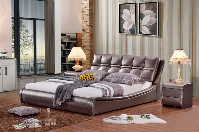modern real genuine leather bed / soft bed/double bed king/queen size bedroom home furniture brown color+ 2 night stands